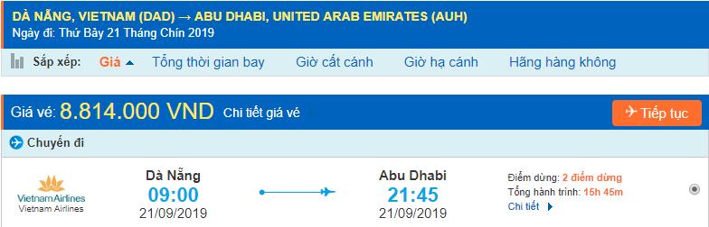 Giá vé máy bay đi Abu Dhabi từ Đà Nẵng