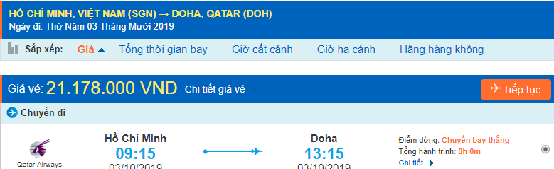 Vé máy bay đi Doha Qatar từ Hồ Chí Minh