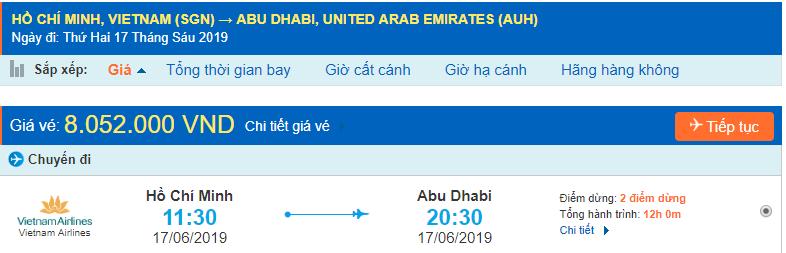 Giá vé máy bay đi Abu Dhabi từ Hồ Chí Minh