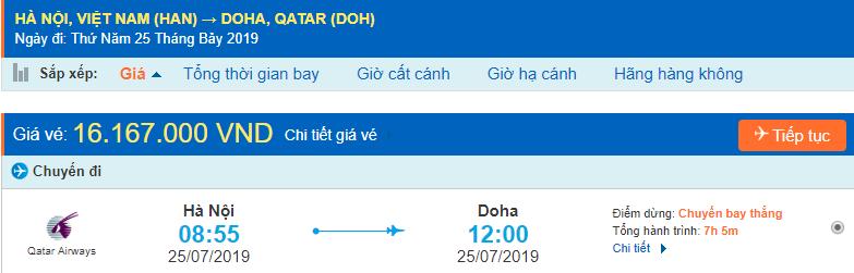 Vé máy bay đi Doha từ Hà Nội