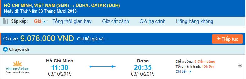 Vé máy bay đi Qatar từ Hồ Chí Minh