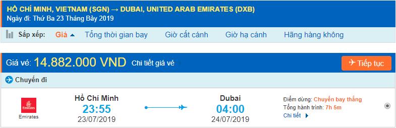 Vé máy bay đi Dubai từ Hồ Chí Minh Emirates