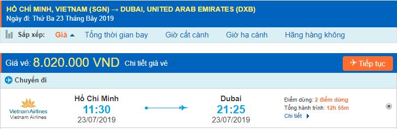 Vé máy bay đi Dubai từ Hồ Chí Minh