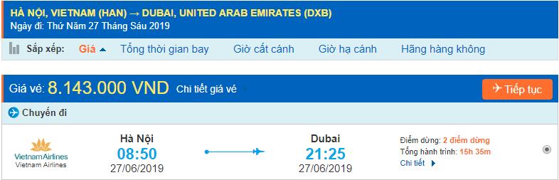 Giá vé máy bay đi Dubai từ Hà Nội