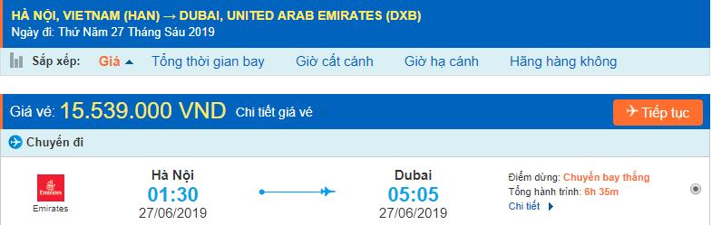 Vé máy bay đi Dubai từ Hà Nội