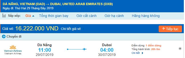 vé máy bay đi Dubai từ Đà Nẵng