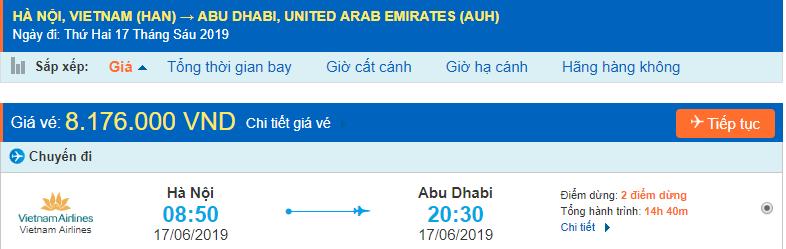 Giá vé máy bay đi Abu Dhabi từ Hà Nội