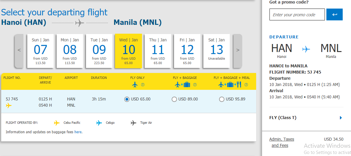 Giá vé máy bay đi Manila KM 65$