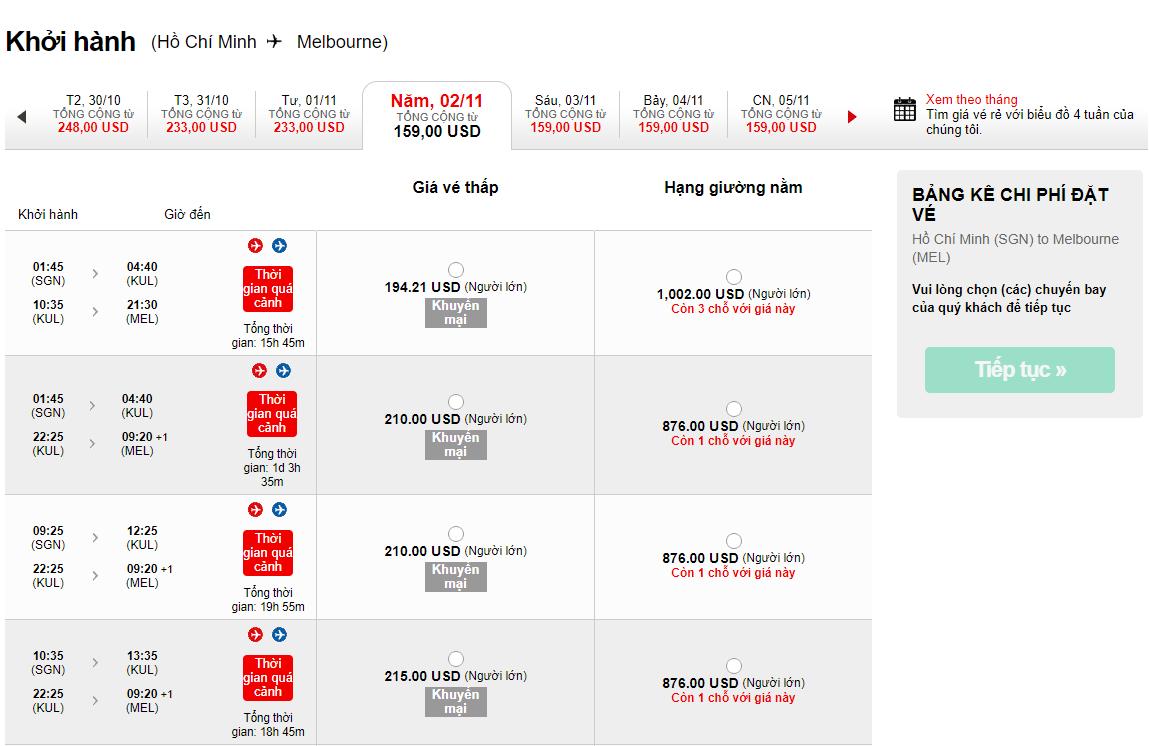 bảng giá vé KM đi Melbournechỉ từ 159 USD