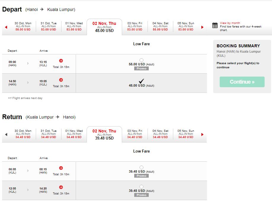 Bảng giá vé máy bay KM đi Kuala Lumpur