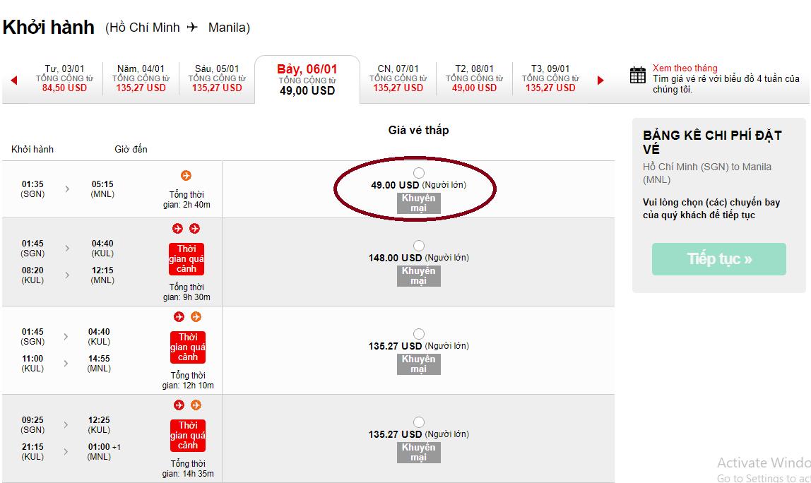 Giá vé máy bay đi Manila KM
