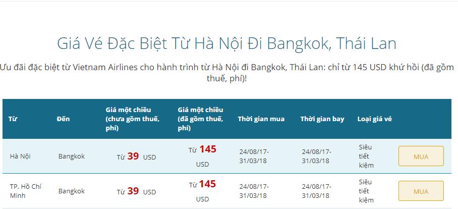 giá vé máy bay đi Bangkok rẻ nhất 2017