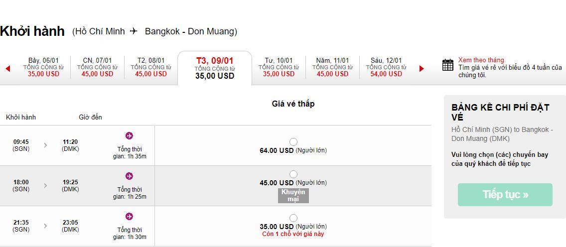 Giá mới chỉ từ 25 USD đi Thái Lan