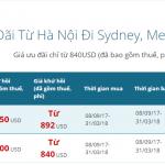 giá vé máy bay đi Úc của Vietnam Airlines