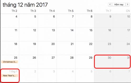 Lịch nghỉ tết dương 2018 3 ngày