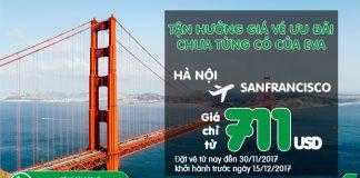 Tháng 10, nhận ưu đãi tuyệt vời, vé Eva Air đi San Francisco