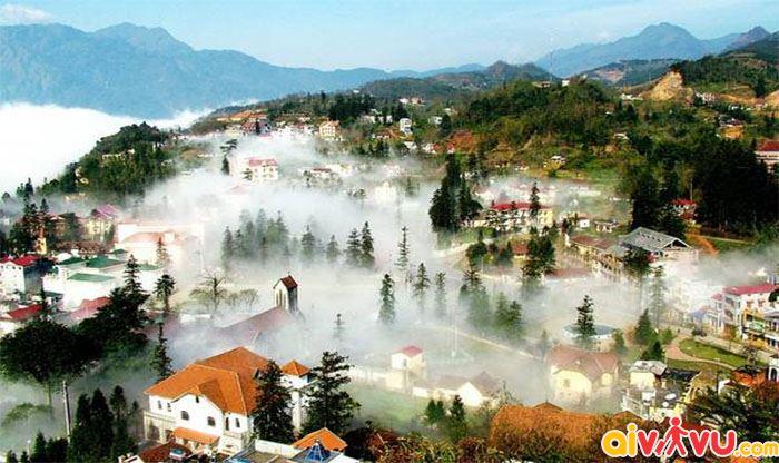 Mùa đông tại Sapa đầy sương mù