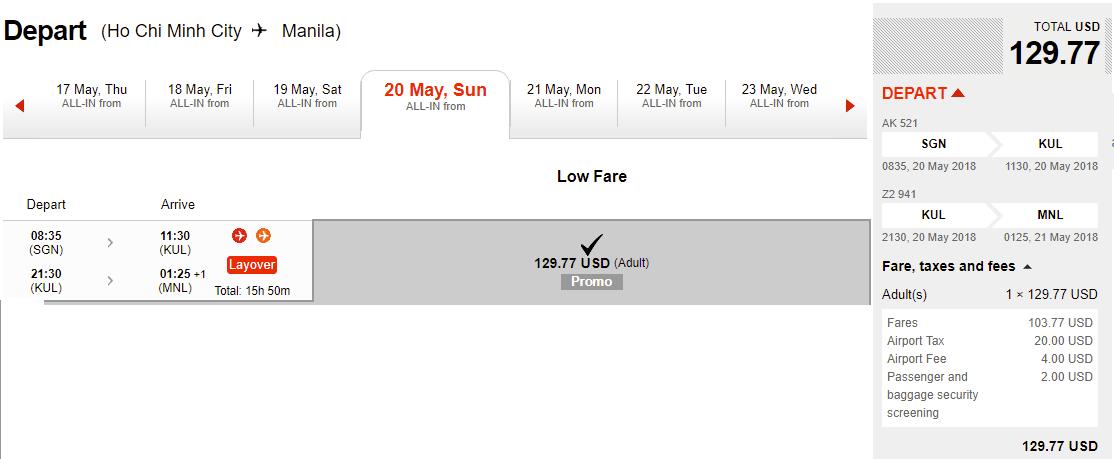 Mẫu giá vé đi Manila của Air Asia