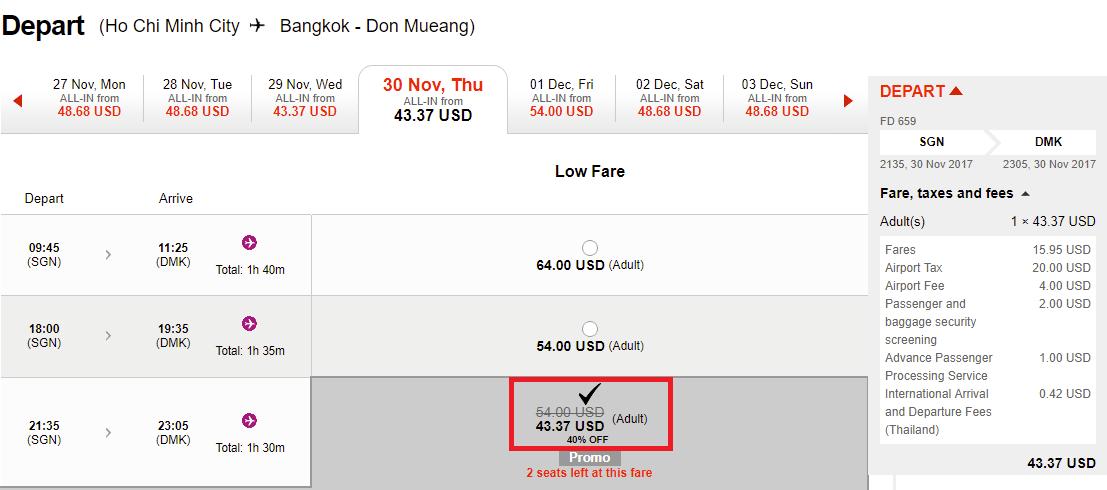 Hành trình HCM - Bangkok giảm đến 40% , vé chỉ từ 43 USD