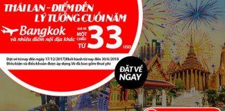 Vé một chiều đi Thái Lan chỉ từ 33 USD