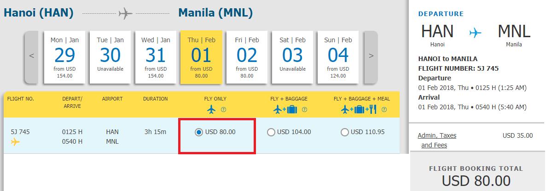 Vé Hà Nội đi Manila