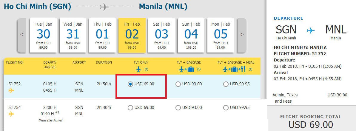 Vé Hồ Chí Minh đi Manila