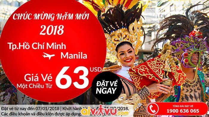 Air Asia KM vé đi Manila chỉ từ 63 USD