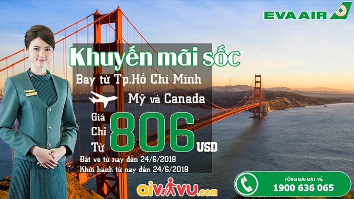 Ưu đãi đi Mỹ - Canada vé Eva Air chỉ từ 806 USD