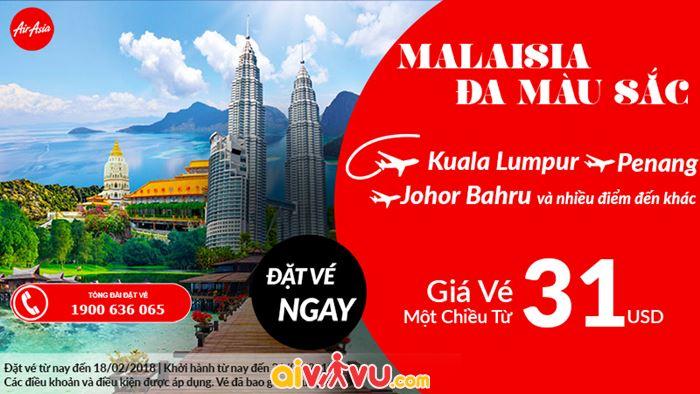 Air Asia KM vé đi Malaysi chỉ từ 31 USD