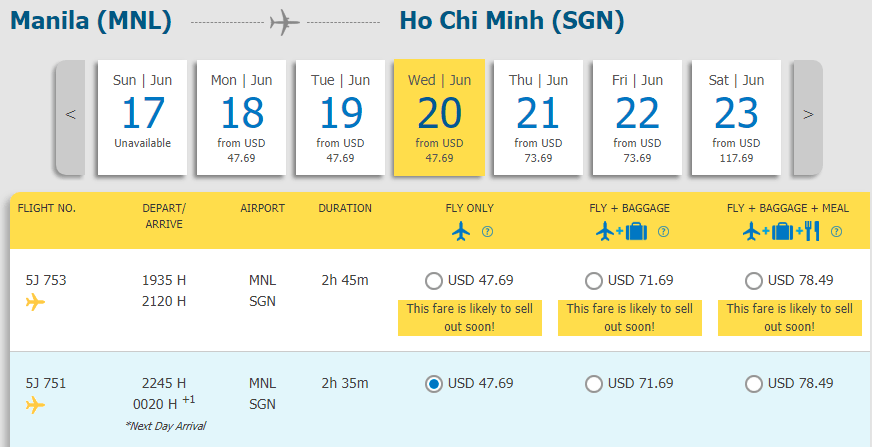 Vé Manila - Hồ Chí Minh chỉ từ 47.69 USD