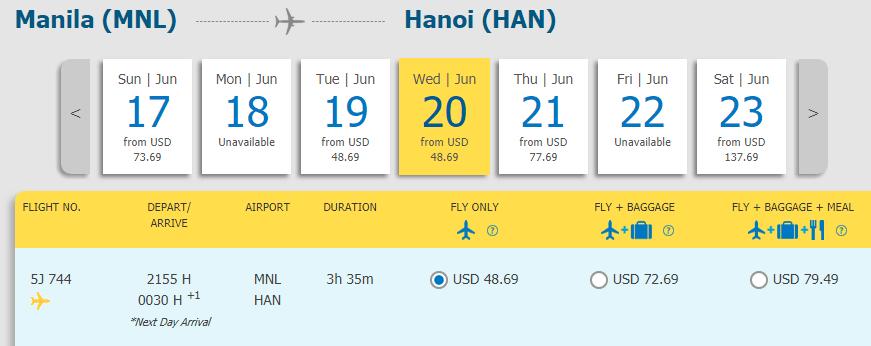 Vé Manila - Hà Nội chỉ từ 48.69 USD