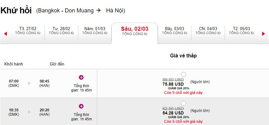 Vé Bangkok - Hà Nội giảm giá đến 20%