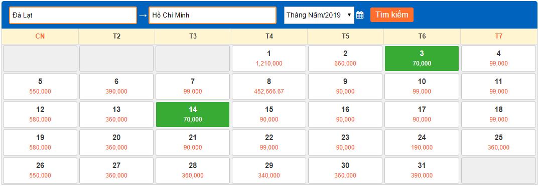 Giá vé máy bay tháng 5/2019 từ Đà Lạt về Hồ Chí Minh