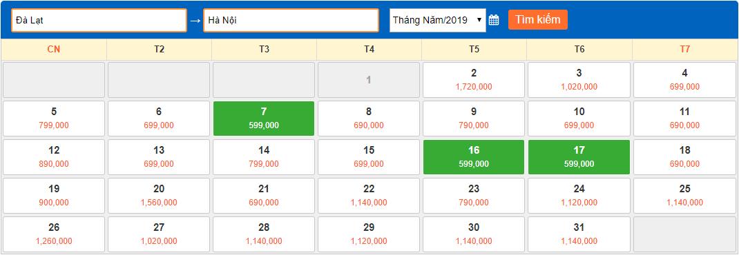 Giá vé máy bay giá rẻ tháng 5/2019 từ Đà Lạt đi Hà Nội