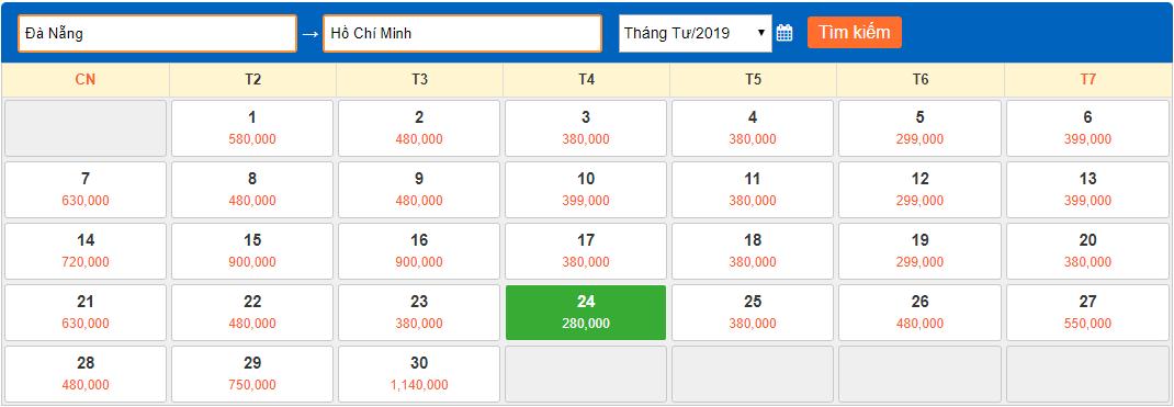Giá vé máy bay giá rẻ tháng 4/2019 từ Đà Nẵng về Sài Gòn