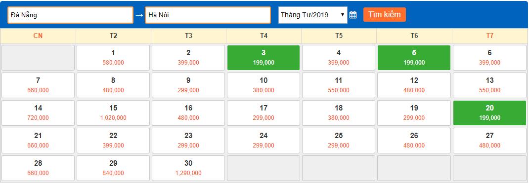 Giá vé máy bay giá rẻ tháng 4 năm 2018 từ Đà Nẵng về Hà Nội
