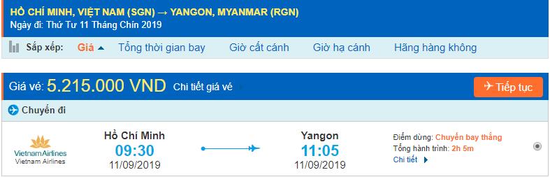 Giá vé máy bay đi Myanmar từ Hồ Chí Minh
