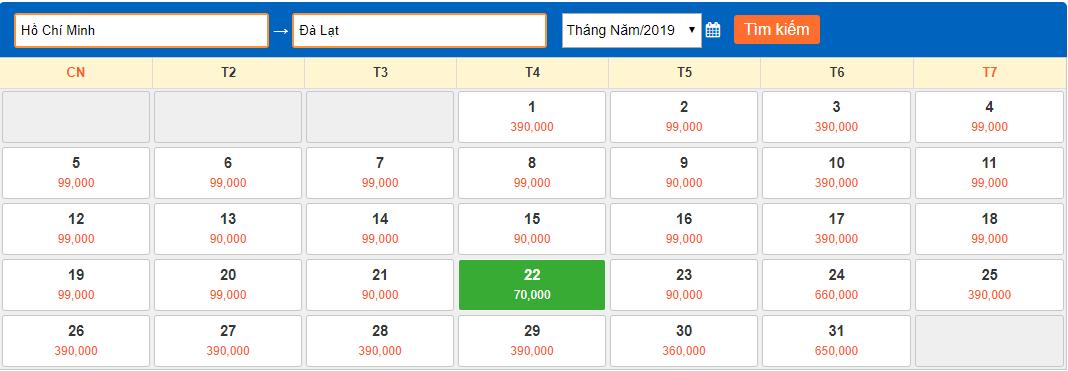 Giá vé máy bay giá rẻ tháng 5/2019 từ Hồ Chí Minh đi Đà Lạt