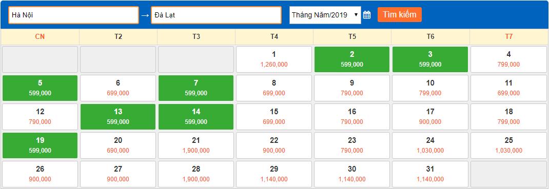 Giá vé máy bay giá rẻ tháng 5/2019 từ Hà Nội đi Đà Lạt