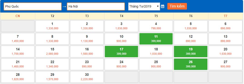 Giá vé máy bay giá rẻ tháng 4 năm 2018 từ Phú Quốc về Hà Nội