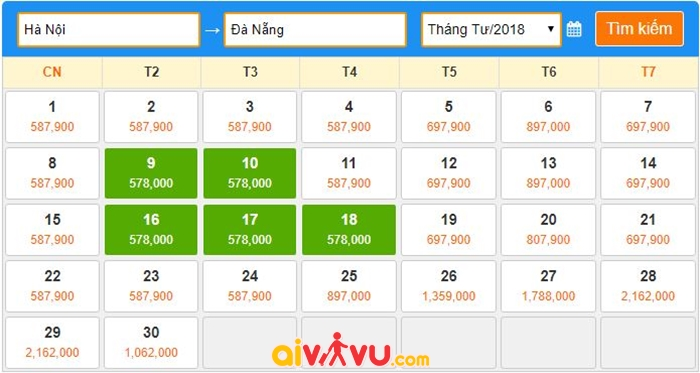 Vé máy bay giá rẻ tháng 4/2018 đi Đà Nẵng