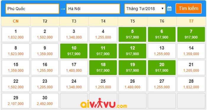 Vé máy bay giá rẻ tháng 4 năm 2018 từ Phú Quốc về Hà Nội