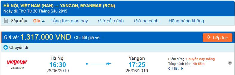 Vé máy bay đi Myanmar Vietjet từ Hà Nội