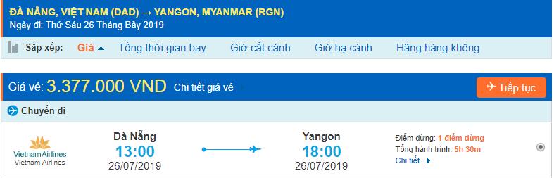 Vé máy bay đi Myanmar từ Đà Nẵng