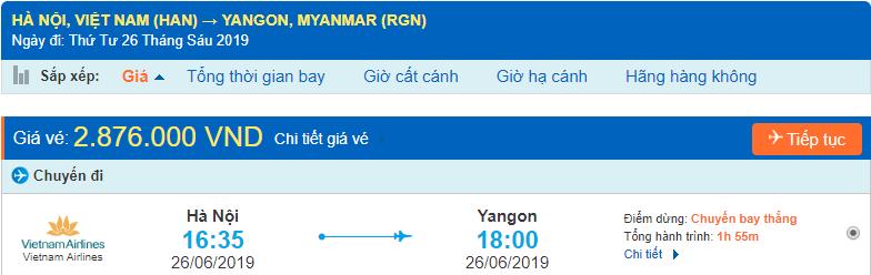 Giá vé máy bay đi Yangon Myanmar Vietnam Airlines