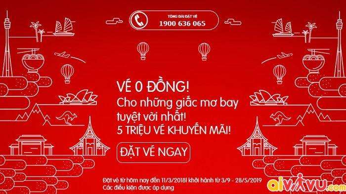 Air Asia khuyến mãi giá vé 0 đồng