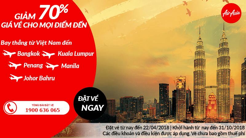 Chương trình khuyến mại giảm giá vé đến 70% từ Air Asia