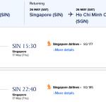 Mẫu giá vé máy bay đi Singapore khuyến mại