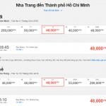 Mẫu giá vé hành trình Nha Trang - Hồ Chí Minh