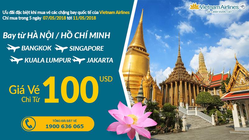 Đặt vé Vietnam Airlines khứ hồi từ 100 USD